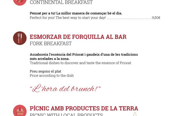 carta bar hostal sport priorat